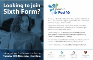 Post 16 Virtual online open event Tuesday 10 November 6:30 p.m.
